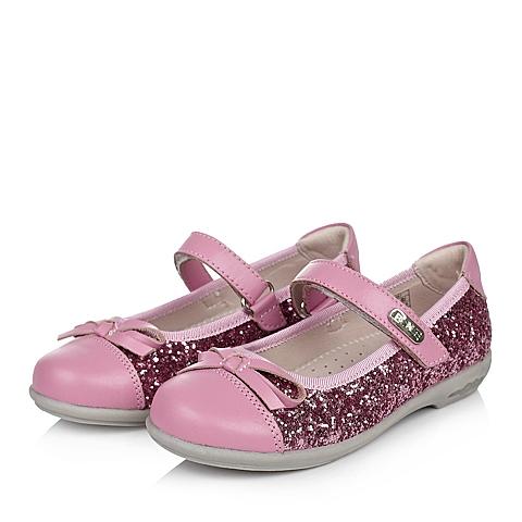 Belle/百丽童鞋2015夏季新款粉色头层皮/纺织物女小童皮鞋灯鞋DB0057