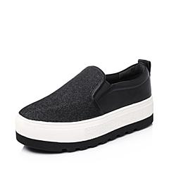Belle/百丽秋专柜同款银黑亮片布女单鞋BEAA6CM5 厚底乐福鞋