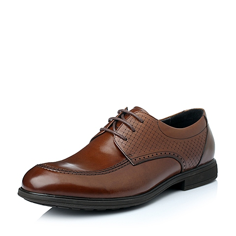Belle/百丽秋季棕色油蜡牛皮商务正装男单鞋R1880CM5