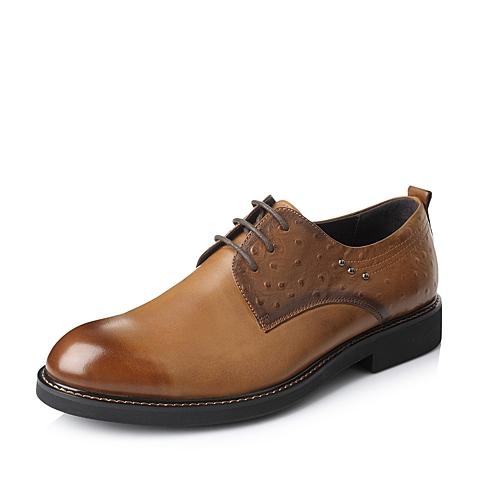 Belle/百丽秋季棕油蜡变色小牛皮男单鞋A7620CM5