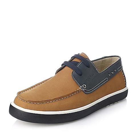 Belle/百丽秋季土黄/蓝磨砂牛皮撞色系带男鞋AB801CM5