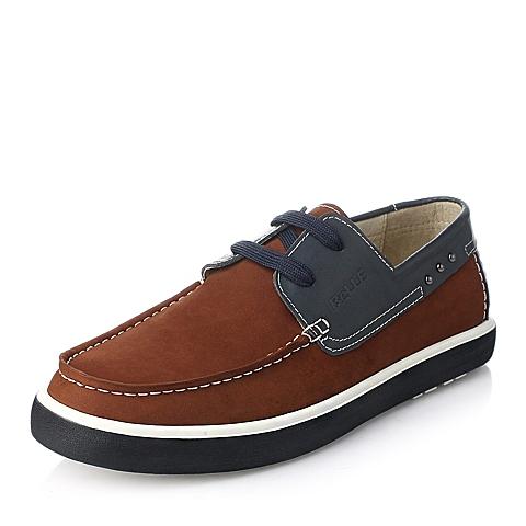 Belle/百丽秋季红棕/蓝磨砂牛皮撞色系带男鞋AB801CM5