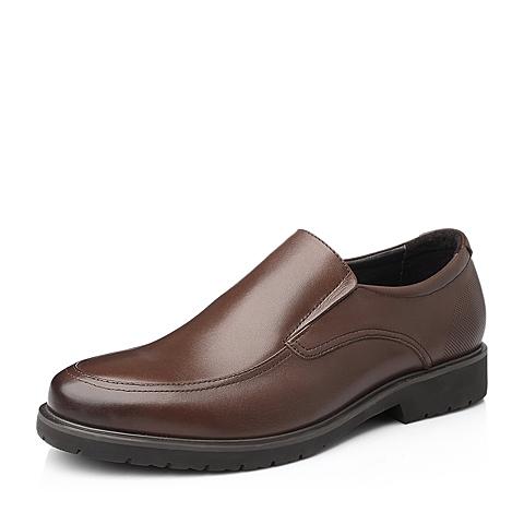 Belle/百丽秋季棕色打蜡牛皮商务正装男单鞋11505CM5