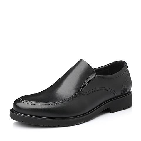 Belle/百丽秋季黑色打蜡牛皮商务正装男单鞋11505CM5