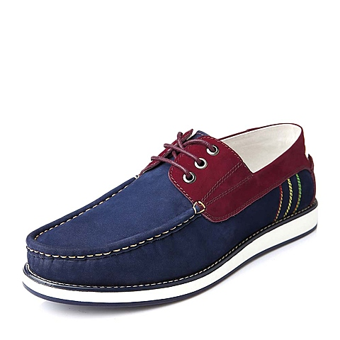Belle/百丽秋季蓝/红色磨砂牛皮时尚舒适男休闲鞋15121CM5