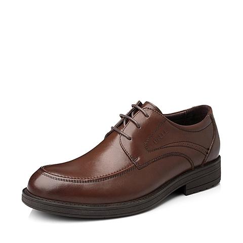 Belle/百丽秋季棕色油蜡变色牛皮商务男单鞋LA034CM5