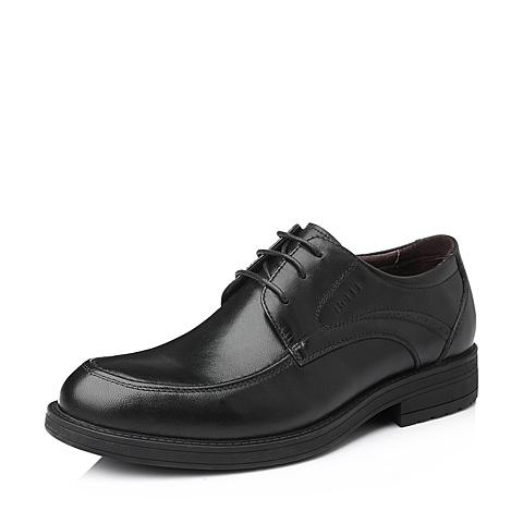 Belle/百丽秋季黑色打蜡牛皮商务男单鞋LA034CM5