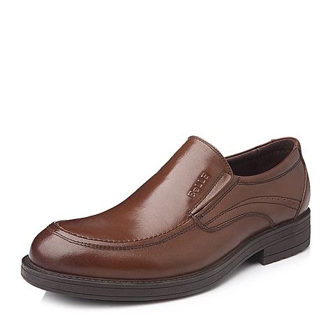 Belle/百丽秋季棕色油蜡变色牛皮商务套脚男单鞋LA134CM5