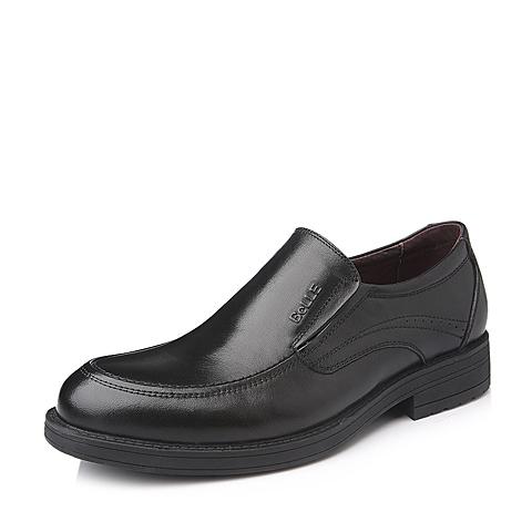Belle/百丽秋季黑色打蜡牛皮商务套脚男单鞋LA134CM5