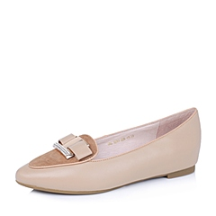 Belle/百丽秋专柜同款杏羊皮革舒适百搭女单鞋K5N3DCQ5