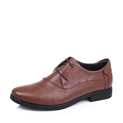 Belle/百丽秋季专柜同款棕色牛皮商务男单鞋3UF01CM5