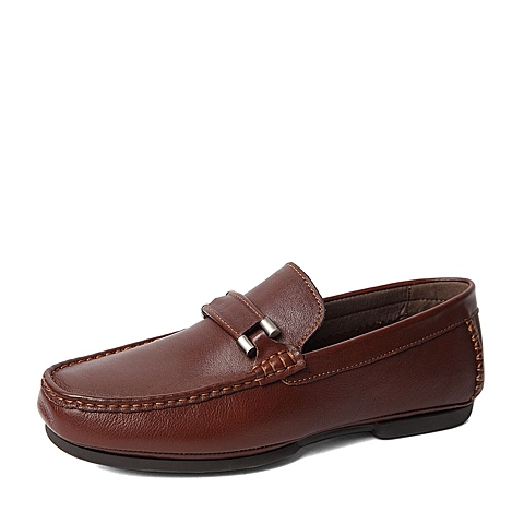 Belle/百丽秋季专柜同款啡色牛皮男鞋37J03CM5 专柜1