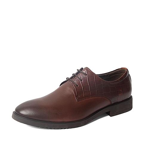 Belle/百丽秋季专柜同款棕牛皮男鞋38A13CM5 专柜1