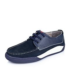 Belle/百丽秋季专柜同款蓝色磨砂牛皮舒适休闲男单鞋3UE01CM5