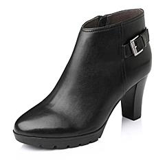 Belle/百丽2015冬季黑色牛皮女短靴3HXE9DD5