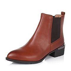 Belle/百丽冬专柜同款棕牛皮经典女短靴3N3G4DD5