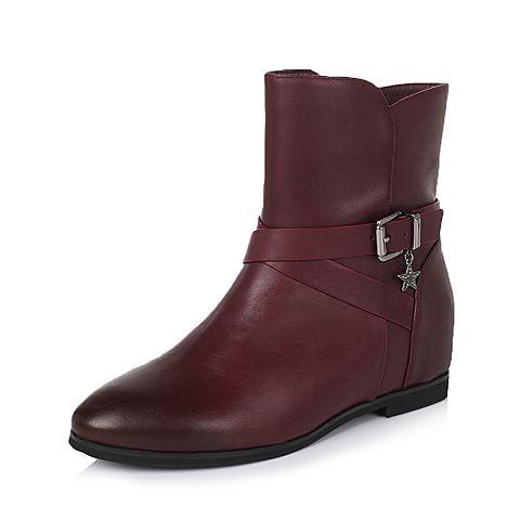 Belle/百丽冬专柜同款酒红油皮牛皮休闲舒适女中靴BJI60DZ5