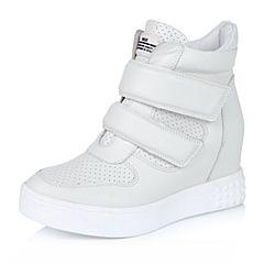 Belle/百丽冬专柜同款白软牛皮休闲运动风女中靴BAO61DZ5