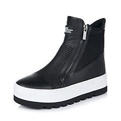Belle/百丽冬专柜同款黑光牛皮/弹力布时尚休闲板靴女中靴BEA60DZ5