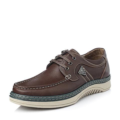 Belle/百丽冬季棕牛皮时尚舒适男休闲鞋V6331DM5