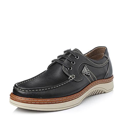 Belle/百丽冬季黑牛皮时尚舒适男休闲鞋V6331DM5