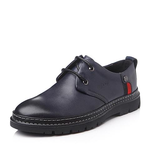 Belle/百丽冬季蓝色牛皮男单鞋L6065DM5