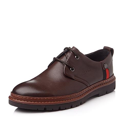 Belle/百丽冬季棕色牛皮男单鞋L6065DM5