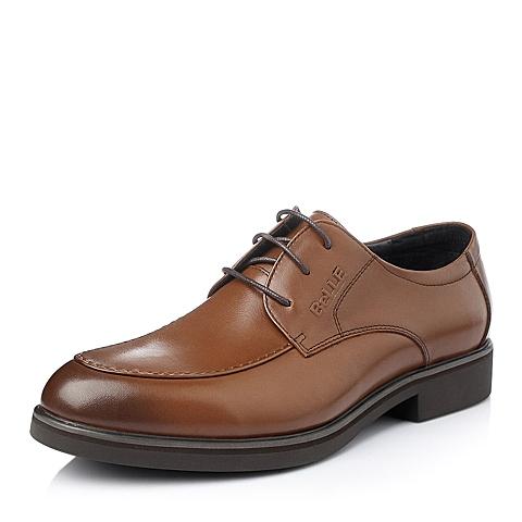 Belle/百丽冬季棕色时尚商务儒雅小牛皮男单鞋118H5DM5