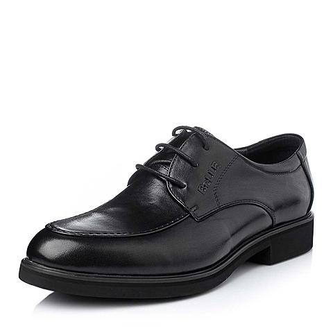 Belle/百丽冬季黑色时尚商务儒雅小牛皮男单鞋118H5DM5
