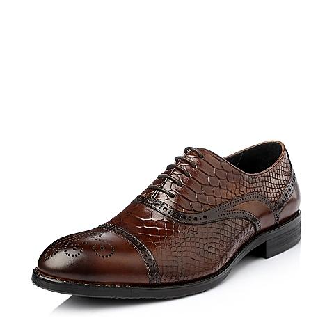 Belle/百丽冬季棕色牛皮男单鞋58011DM5