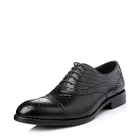 Belle/百丽冬季黑色牛皮男单鞋58011DM5