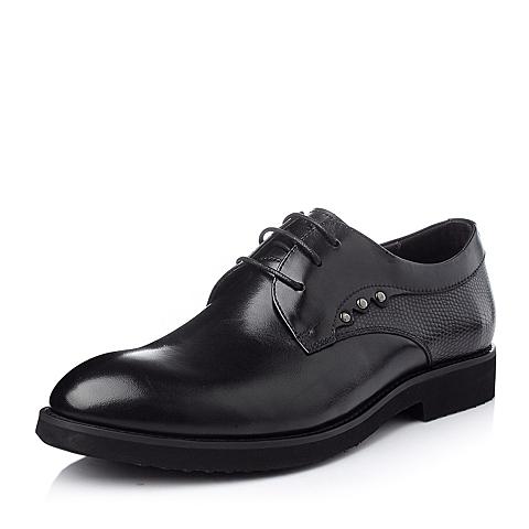 Belle/百丽冬季黑色时尚休闲商务打蜡牛皮男单鞋A8901DM5