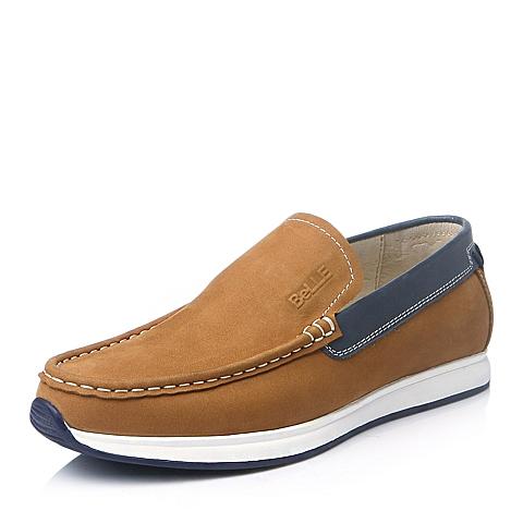Belle/百丽冬季土黄色牛皮男单鞋AB220DM5