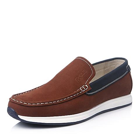 Belle/百丽冬季红棕色牛皮男单鞋AB220DM5