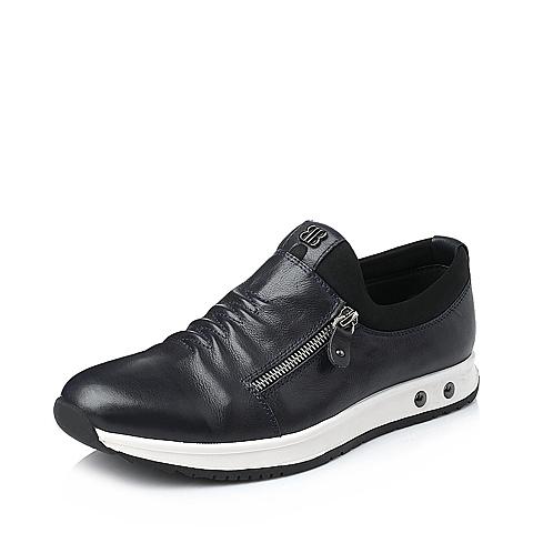 Belle/百丽冬季宝蓝色牛皮男单鞋BK110DM5