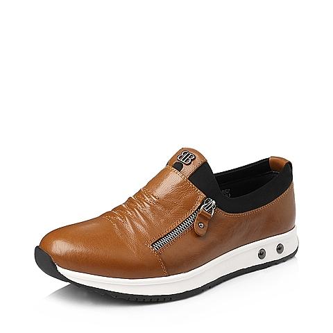 Belle/百丽冬季黄棕色牛皮男单鞋BK110DM5