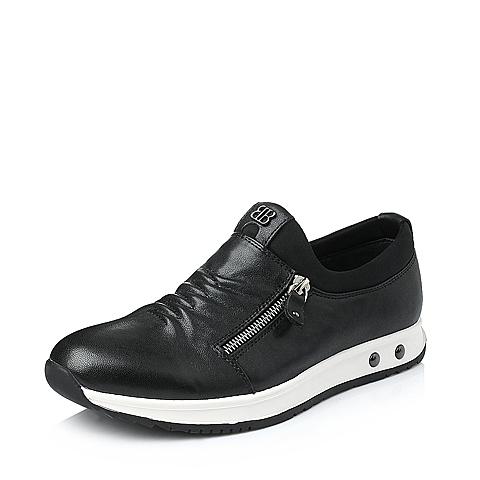 Belle/百丽冬季黑色羊皮男单鞋FBK11DM5