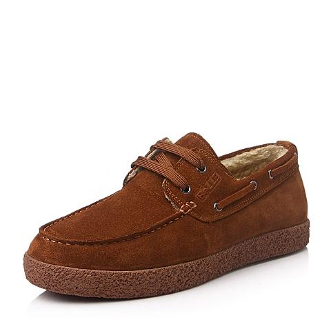 Belle/百丽冬季红棕色二层牛皮男单鞋L8938DM5
