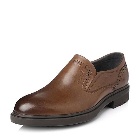 Belle/百丽冬季棕色舒适商务牛皮男单鞋OB609DM5
