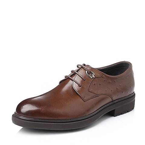 Belle/百丽冬季棕色时尚商务休闲牛皮男单鞋OB865DM5