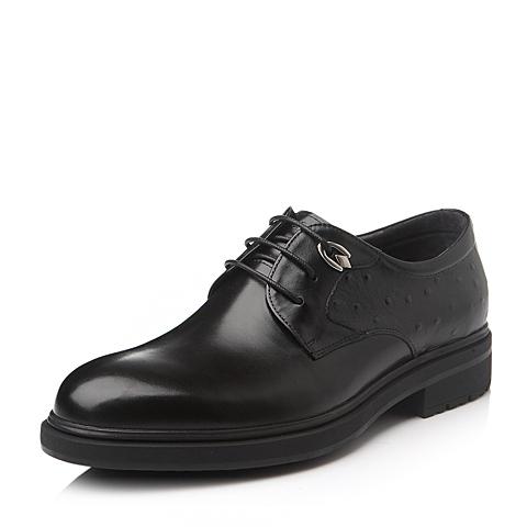 Belle/百丽冬季黑色时尚商务休闲牛皮男单鞋OB865DM5
