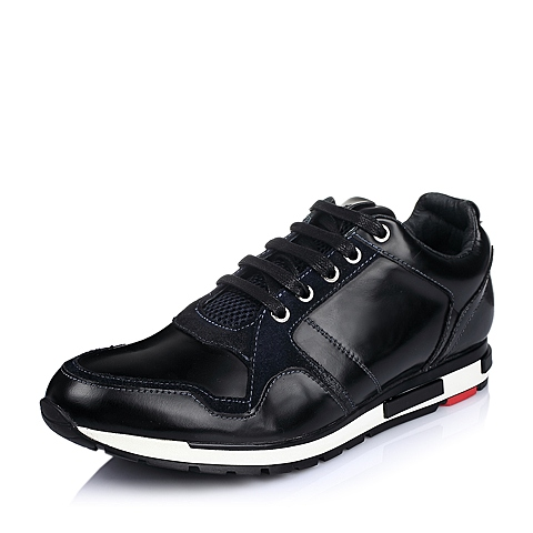 Belle/百丽冬季黑色牛皮男单鞋UNF15DM5