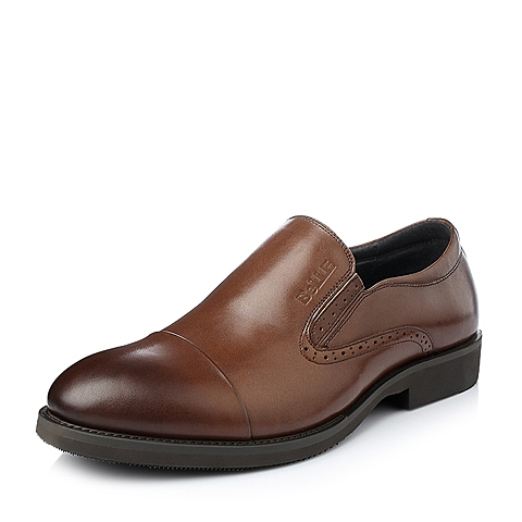 Belle/百丽冬季棕色小牛皮男单鞋DN616DM5