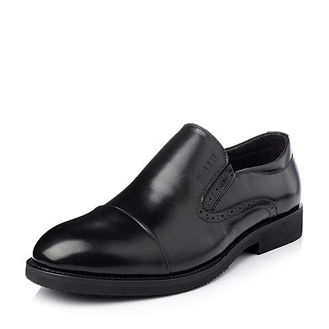Belle/百丽冬季黑色小牛皮男单鞋DN616DM5