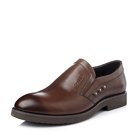 Belle/百丽冬季棕色牛皮男单鞋A8902DM5