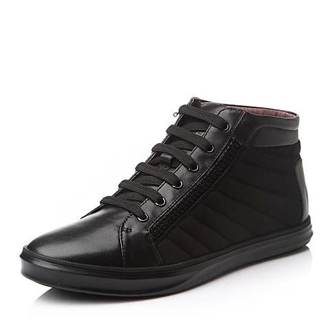 Belle/百丽冬季黑色牛皮/弹力布男靴15B29DD5