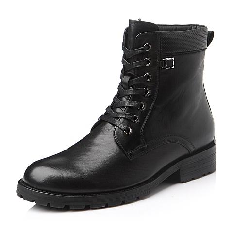 Belle/百丽冬季黑色时尚舒适活力打腊牛皮男靴3006HDZ5