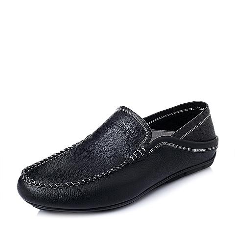 Belle/百丽春季专柜同款黑色打蜡牛皮男休闲鞋3LQ01AM5