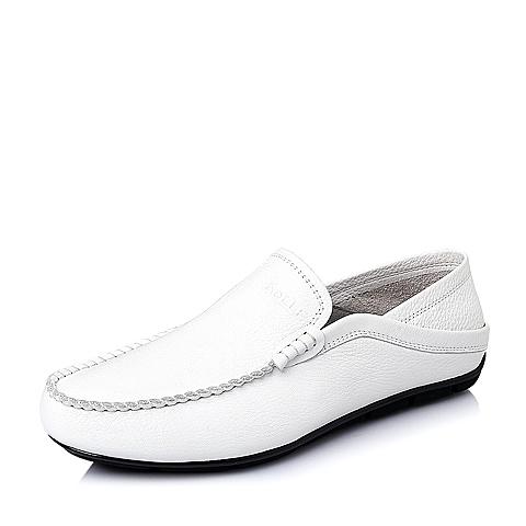 Belle/百丽春季专柜同款白色打蜡牛皮男休闲鞋3LQ01AM5