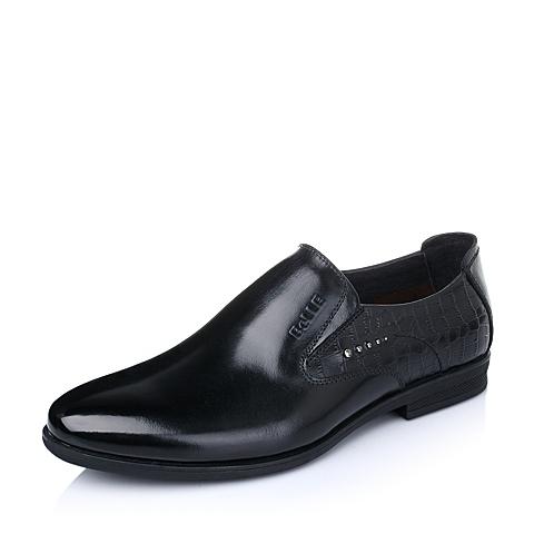 Belle/百丽春季专柜同款黑色牛皮男皮鞋3QR02AM5
